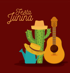 Colorful poster festa junina with background of vector