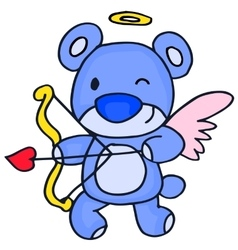 Cute cupid bear cartoon vector