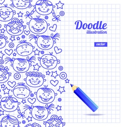 Doodle kid cartoon design vector