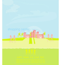 fashion silhouette girls on a shopping center vector image