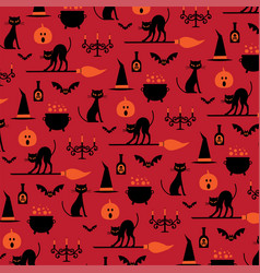 Halloween icons pattern on orange vector