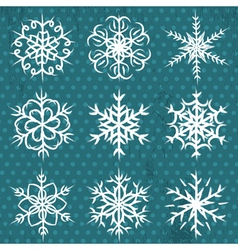 hand made snowflakes on blue background vector image vector image