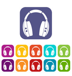 headphones icons set flat vector image
