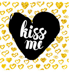 Kiss me postcard design vector