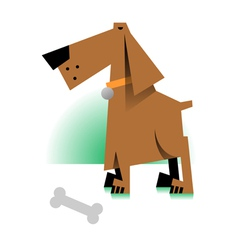 picture of a dog with bone vector image vector image