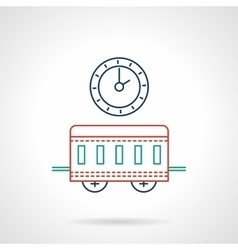 Railway station flat color line icon vector