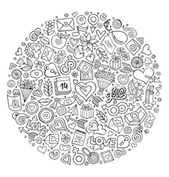 Set of love cartoon doodle objects vector