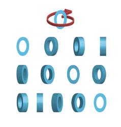 Sheet of sprites rotation of cartoon 3d letter o vector