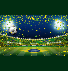 Soccer ball in the brazil stadium with light vector