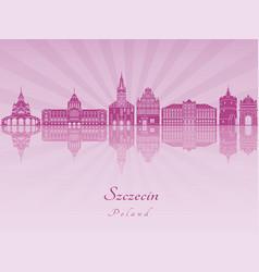 Szczecin skyline in purple radiant orchid vector