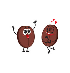 Two funny coffee bean characters showing love vector