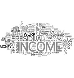 why residual income text word cloud concept vector image