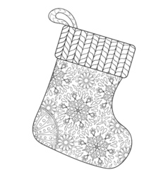 Winter knitted Sock for gift from Santa in vector image