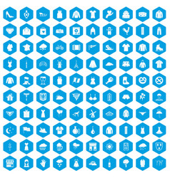 100 clothing icons set blue vector
