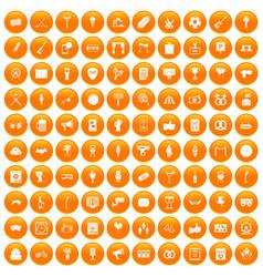 100 events icons set orange vector