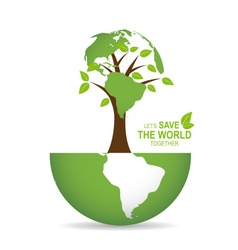 Save the world poster design template with globe vector