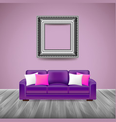 Modern interior with purple sofa vector