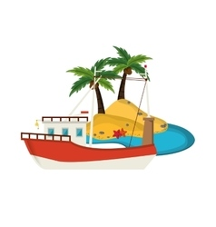 Tropical island and boat or ship icon vector
