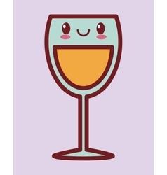 glass of wine kawaii icon image vector image
