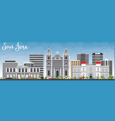 San jose skyline with gray buildings and blue sky vector