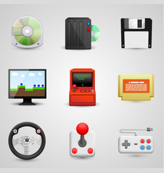 game set icons vector image