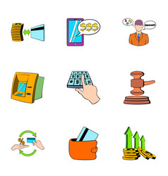 spica icons set cartoon style vector image