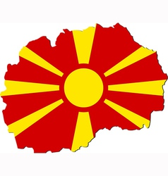 Map of macedonia with national flag vector