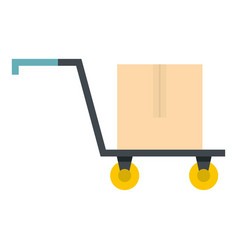 hand truck with cardboard box icon isolated vector image