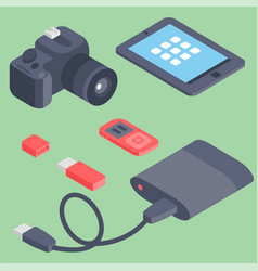 Set of isometric computer devices icons vector