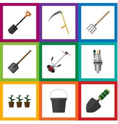 Flat icon garden set of shovel pump trowel and vector
