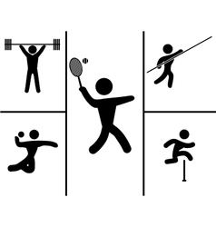 A black set of sport icons vector