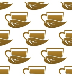 Seamless pattern of tea cups vector image