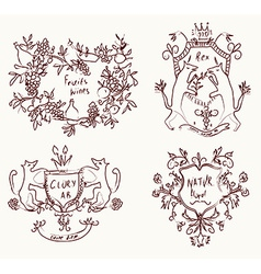 Coats of arms set - retro design in sketch vector