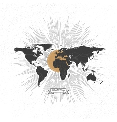 Black political world map with vintage style star vector