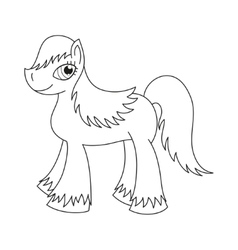 Pony with a magnificent mane and tail coloring vector
