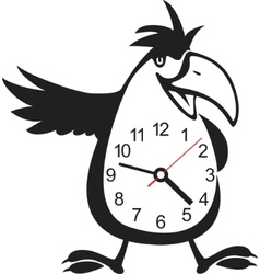Wall clock parrot sticker vector