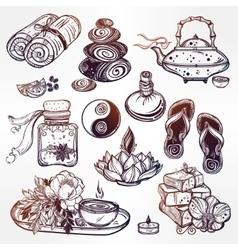 Hand drawn spa set vector image