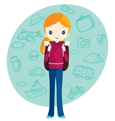 Backpacker girl and travel outline icons vector