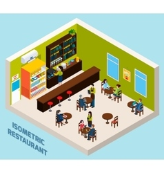 Restaurant Bar Interior Isometric Composition vector image