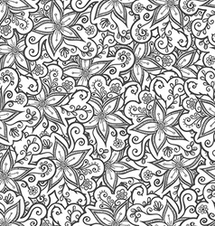Doodled seamless pattern from flowers endless vector