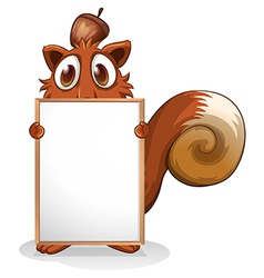 A squirrel with an empty whiteboard vector image