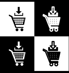 Add to shopping cart sign black and white vector