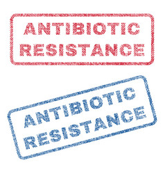 Antibiotic resistance textile stamps vector