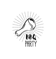 Bbq party badge chicken grill label isolated on vector