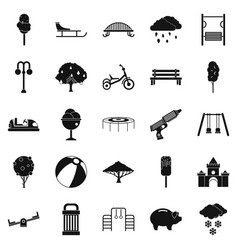 Big park icons set simple style vector