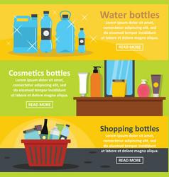 Bottle packaging banner horizontal set flat style vector