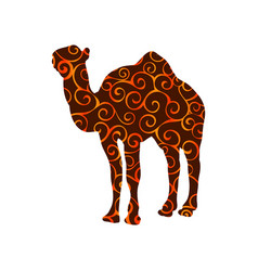 Camel mammal color silhouette animal vector