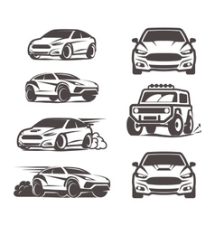 Car icons set sedan suv 4x4 sport vector