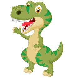 Cute tyrannosaurus cartoon waving hand vector
