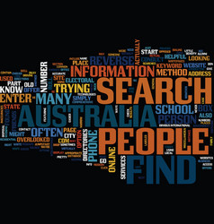 Find people in australia text background word vector